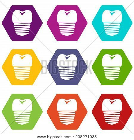 Tooth implant icon set many color hexahedron isolated on white vector illustration