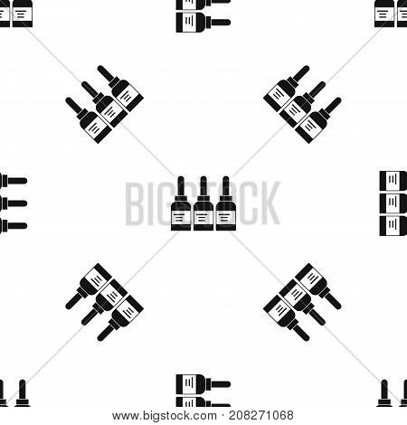 Three tattoo ink bottles pattern repeat seamless in black color for any design. Vector geometric illustration