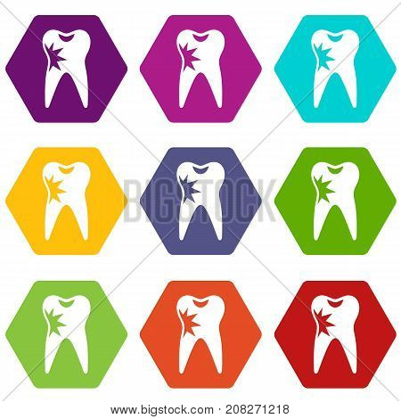 Cracked tooth icon set many color hexagon isolated on white vector illustration