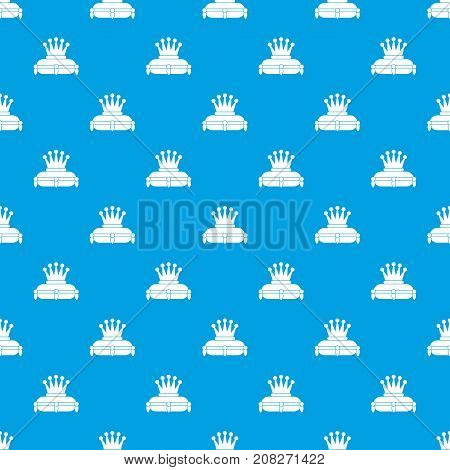 Crown king pattern repeat seamless in blue color for any design. Vector geometric illustration