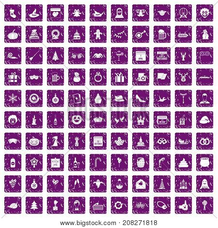 100 holidays icons set in grunge style purple color isolated on white background vector illustration