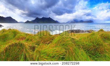 Windy weather in Norway. Lofoten autumn landscape.
