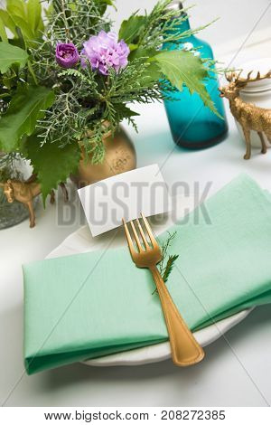 Christmas Place Setting,card And Aquamarine Colors And Gold