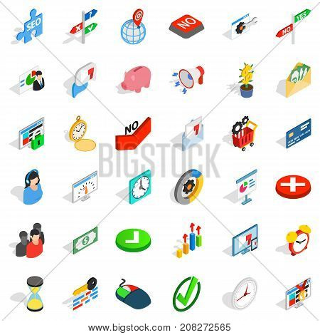 Exchange icons set. Isometric style of 36 exchange vector icons for web isolated on white background