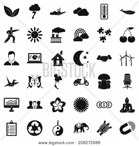 Thermometer icons set. Simple style of 36 thermometer vector icons for web isolated on white background