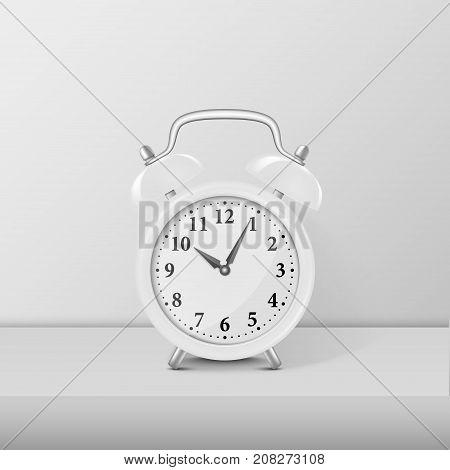 White alarm clock closeup standing on white table. Design template, mockup. Stock vector illustration, eps10.