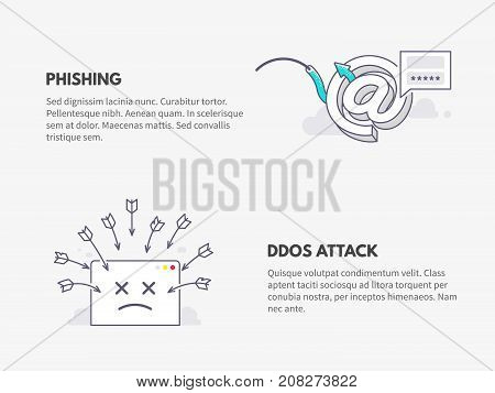 Phishing and DDOS attack. Cyber security concept. Vector thin line illustration design.