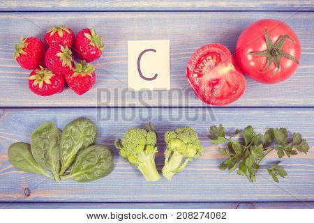 Vintage Photo, Fruits And Vegetables Containing Vitamin C And Minerals, Healthy Lifestyle And Nutrit