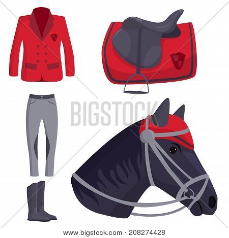 Jockey horse icons vector. Hippodrome champion animal stallion competition nature farm. Riding activity sport leisure design equestrian illustration.