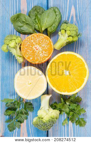 Fruits And Vegetables As Sources Vitamin C, Concept Of Strengthening Immunity, Healthy Lifestyle And