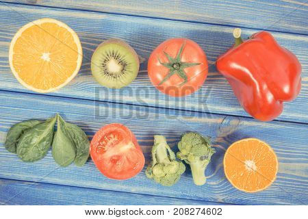 Vintage Photo, Fruits And Vegetables As Sources Vitamin C, Concept Of Strengthening Immunity And Hea