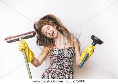 Joyful woman cleaning isolated on white on a white background