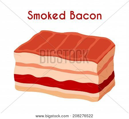Smoked bacon, fried meat, pork, ham. Made in cartoon flat style. Vector illustration