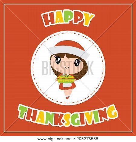 Cute pilgrim girl and apple pie on circle frame vector cartoon illustration for thanksgiving's day card design, wallpaper and greeting card