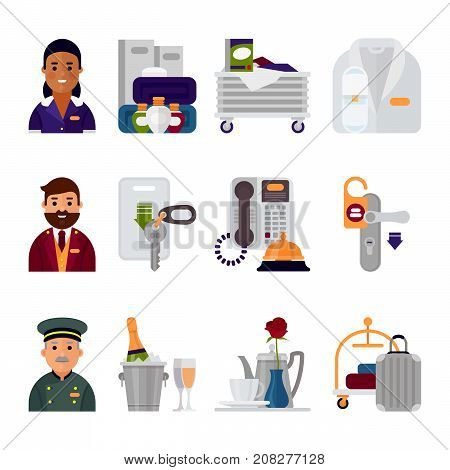 Hotel accommodation workers personal professional service man and woman job uniform objects hostel icons vector illustration. Receptionist travel tourism household tools.