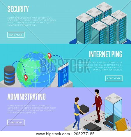 Data cloud security and administration isometric posters. Global communication network, cloud database, computer technology. Data center with hosting servers equipment and staff vector illustration
