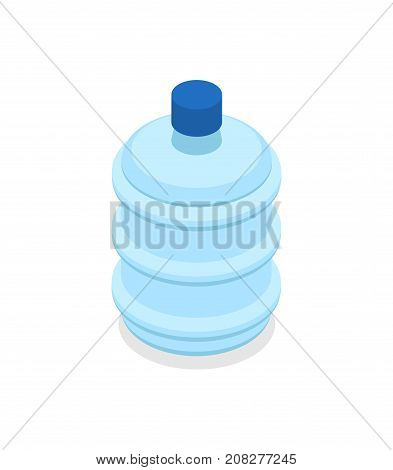 Plastic bottles with water for cooler dispenser isometric 3D icon. Office interior element vector illustration.