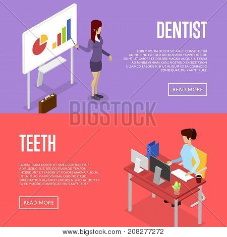 Corporate office life isometric posters. Team workspace concept with business presentation with diagrams, secretary working in office at computer. Together professional occupation vector illustration