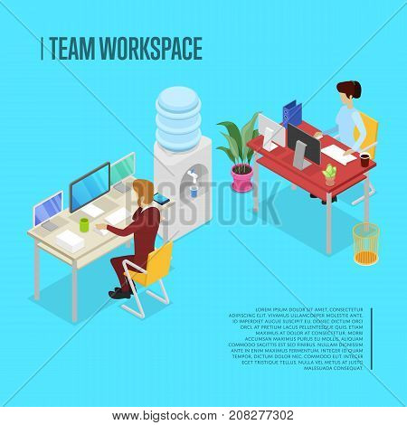 Modern team workspace isometric poster. Corporate office life concept with busy business people working in office at computer. Together professional occupation, office with staff vector illustration