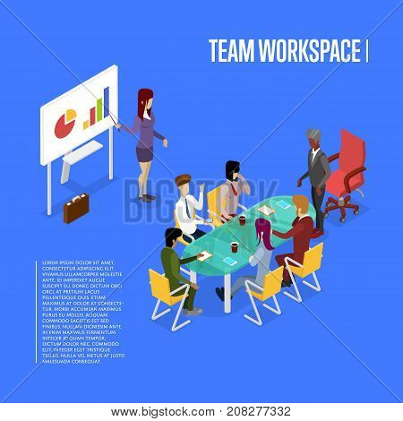 Conference office workspace isometric 3D poster. Teamwork and idea generation banner, business meeting with diagram presentation vector illustration. Corporate office life concept with business people