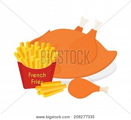 Fried chicken, legs, wings, french fries. Tasty fast food. Made in cartoon flat style. Vector illustration