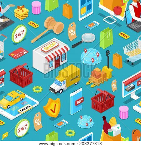 Online shopping isometric seamless pattern. E-shopping concept with shopping bag, credit card, goods, delivery truck, smartphone and products. Retail marketing, home delivery vector illustration.