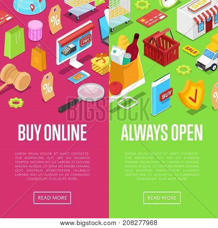 Online shopping isometric 3D posters set. Round the clock e-shopping concept with shopping bag, credit card, goods and products. Retail marketing, fast home delivery service vector illustration.