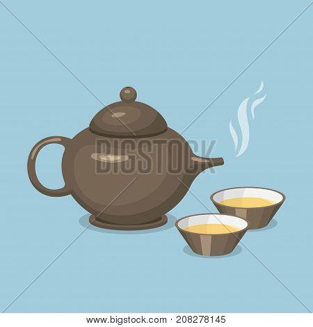 Kettle teapot drink hot breakfast kitchen utensil tea pot with two cups vector illustration. Coffee kitchenware beverage modern teakettle.
