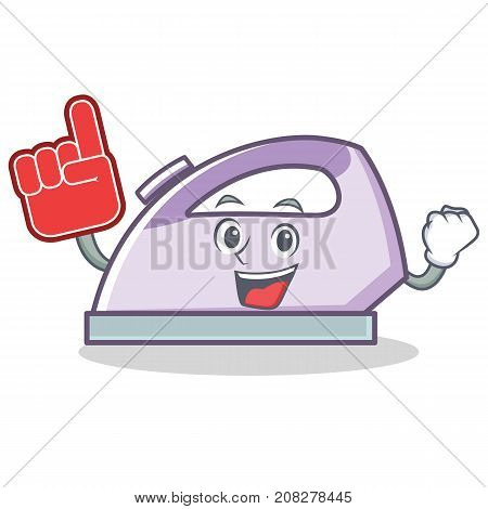 Foam finger flat iron character vector art illustration