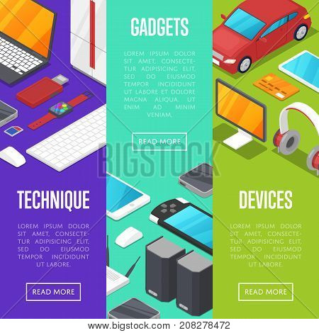 Modern gadgets and computer devices isometric posters. Smart watch, laptop, tablet PC, usb drive, gamepad, mp3 player, wifi router vector illustration. Global social media and communication concept.