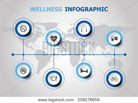Infographic design with wellness icons, stock vector