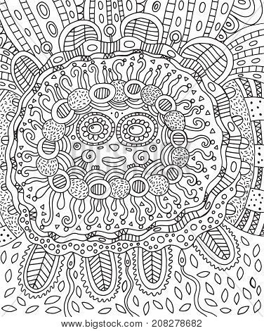 Mayan face. Doodle coloring page for adults with maya