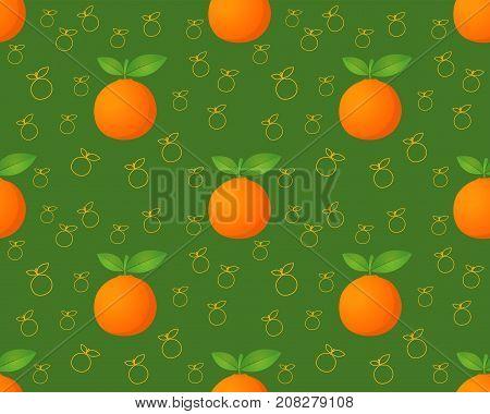 Orange fruit seamless pattern. Ripe orange. Orange with leaves. Juicy fresh orange. Tropical fruit. Healthy food element. Vector illustration on green background.