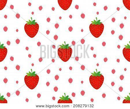 seamless strawberry pattern on white background vector illustration. strawberry background. strawberry texture.