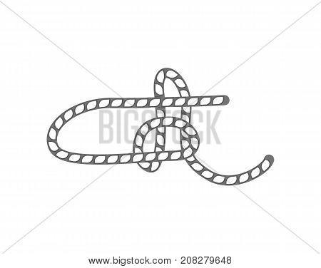 Rope slipknot icon. Seamless decorative design element, creative handmade isolated vector illustration