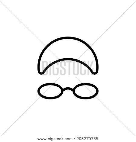 Pool glasses flat icon. Single high quality outline symbol of water for web design or mobile app. Thin line signs of swimming for design logo, visit card, etc. Outline logo of sport