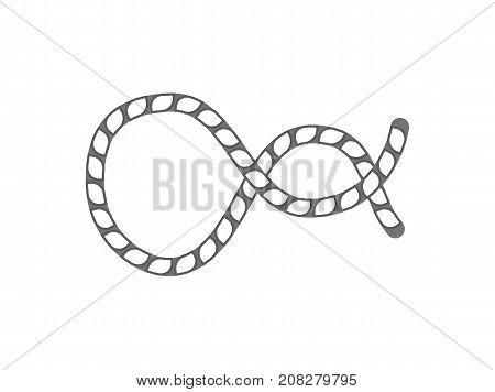 Marine rope knot icon. Seamless decorative design element, creative handmade isolated vector illustration