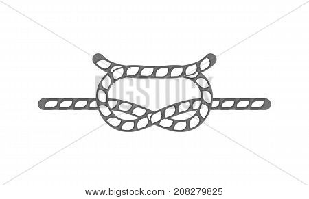 Sailing rope knot icon. Seamless decorative design element, creative handmade isolated vector illustration
