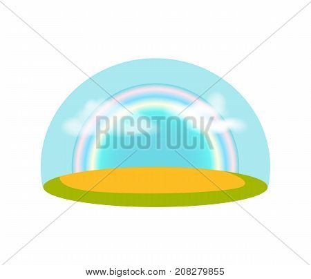 Blue sky with rainbow over meadow isolated icon. Nice weather and sunny day vector illustration in cartoon style.