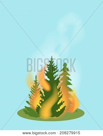Forest fire isolated icon. Natural disaster and danger catastrophe. Warning about emergency situation vector illustration in cartoon style.