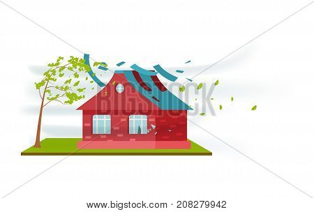 Tornado damage isolated icon. Natural disaster and danger catastrophe. Warning about emergency situation vector illustration in cartoon style.