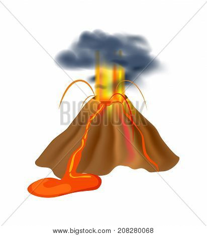 Volcanic eruption isolated icon. Natural disaster and danger catastrophe. Warning about emergency situation vector illustration in cartoon style. poster