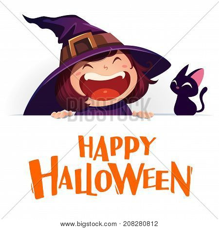 Happy Halloween. Little witch with big signboard. White background.