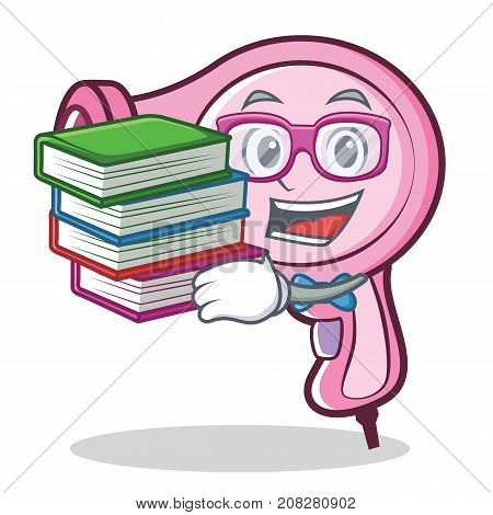 Geek hair dryer character vector art illustration