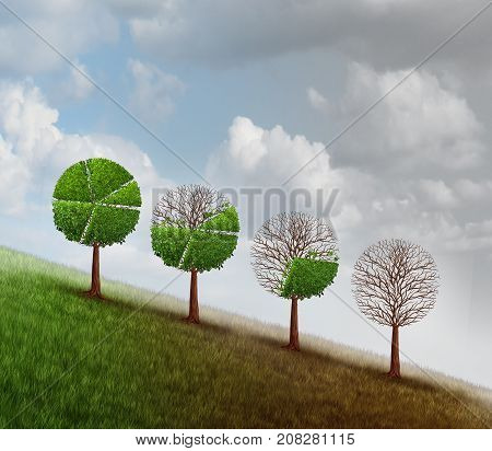 Economic decline and business recession change as a group of trees shaped as a financial diagram chart losing leaves as an economy metaphor for bankruptcy or market crisis with 3D illustration elements.