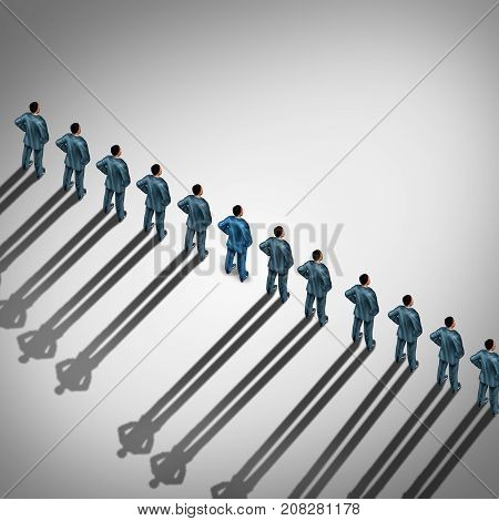 Difficult employee and incompatible disruptive worker behavior as a business and corporate concept as a group of businessmen with one individual casting no shadow in a 3D illustration style.
