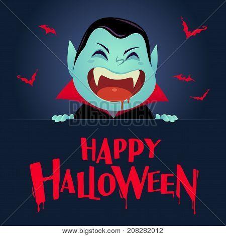 Happy Halloween. Dracula Vampire with big signboard. Retro vintage. Dark background.