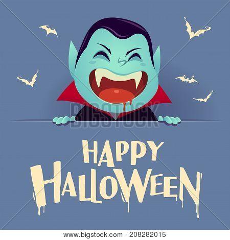 Happy Halloween. Dracula Vampire with big signboard. Retro vintage. Blue background.