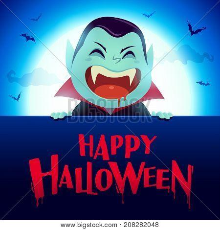 Happy Halloween. Dracula Vampire with big signboard in the moonlight.