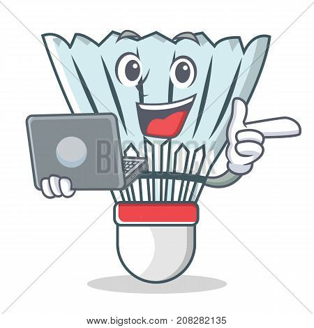 With laptop shuttlecock character cartoon vector art illustration